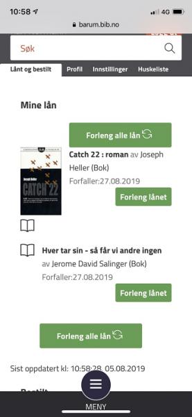 Oversikt over bøker som er lånt og bestilt