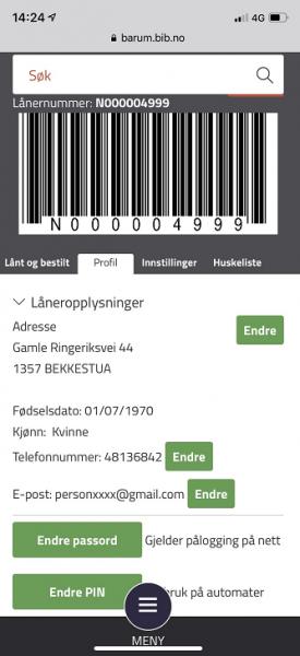 Profilside hvor du bl.a. kan endre pin-kode og passord